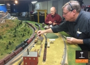 Crew members shuffle the logging line during an operating session.